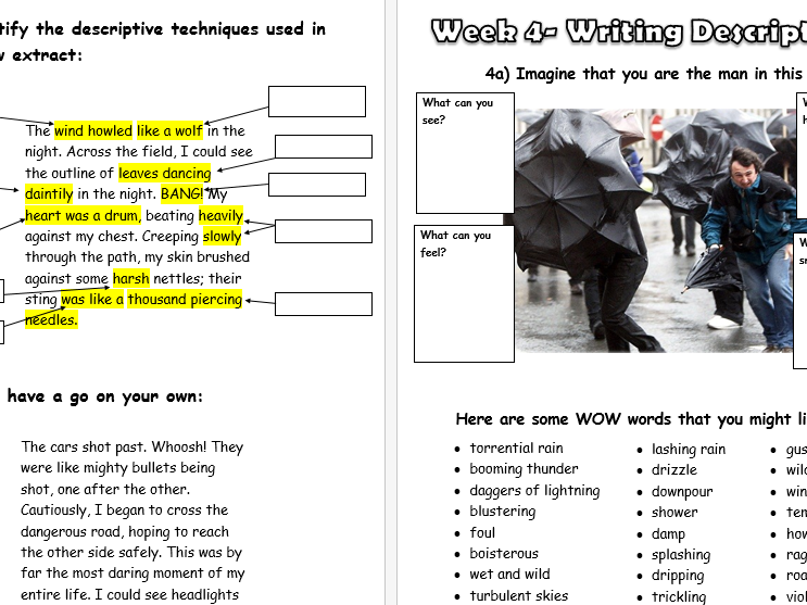 Descriptive Writing- 5 week Project Book - NEW GCSE English Language Paper 1: Creative Writing
