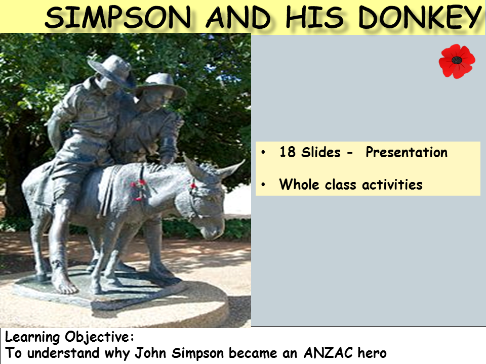 ANZAC - Legend of Simpson and his Donkey: Presentation, Worksheet, Word Search