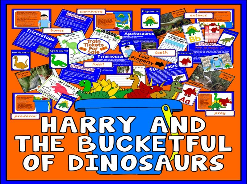 HARRY & BUCKETFUL OF THE DINOSAURS STORY TEACHING RESOURCES EYFS KS1 ENGLISH