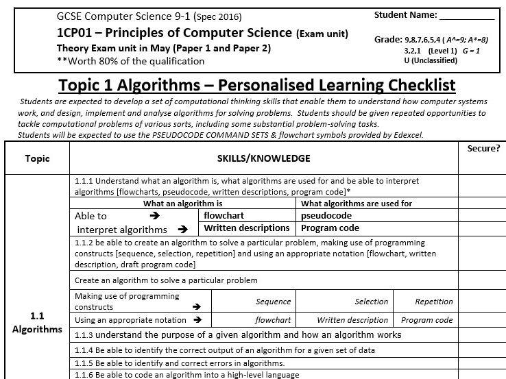 Edexcel GCSE Computer Science 9-1 PLC (Personalised Checklist)