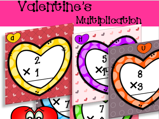 Multiplication with regrouping Task Cards - Valentine's Day Themed