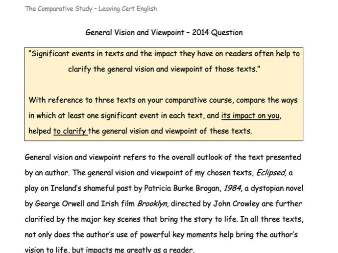 General Vision and Viewpoint Essay - 1984, Eclipsed and Brooklyn (2015)