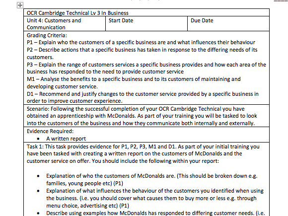 OCR Cambridge Technical Lv 3 In Business - Unit 4: Customers and Communication - Assessment Tasks