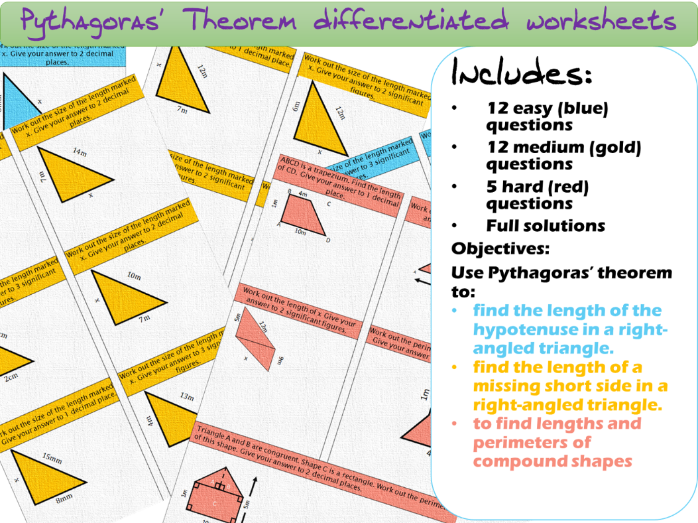 Pythagoras' Theorem differentiated worksheets