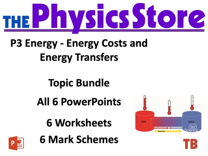 KS3 Physics AQA P2 3 Energy - Work and Heating and Cooling - 6PPTs, 6WS and 6MS Topic Bundle