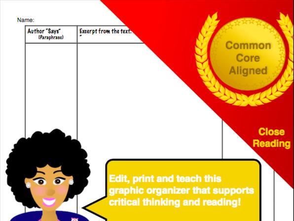 Close Reading Paste-Print-Teach Template