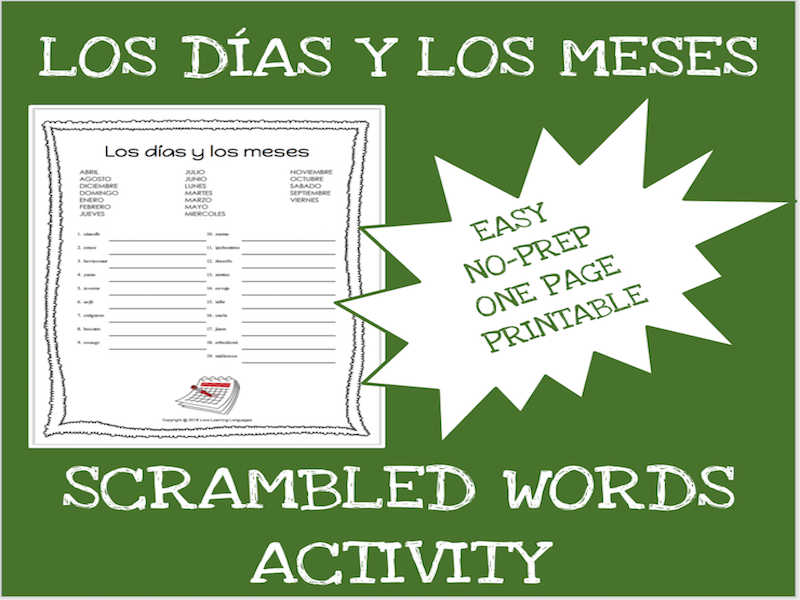 Spanish months and days scrambled words worksheet - Los días y los meses