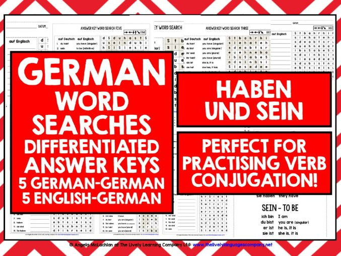 GERMAN HABEN SEIN WORD SEARCHES