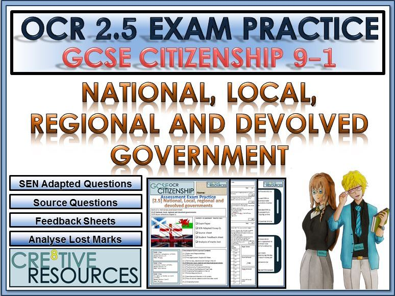 9-1 Citizenship OCR GCSE Exam Assessment: National, local, regional and devolved governments