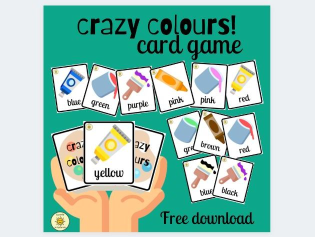 Crazy colours. Card game in English to practise colours vocabulary.