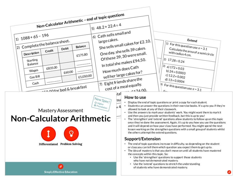 Non-Calculator Arithmetic Mastery Assessment