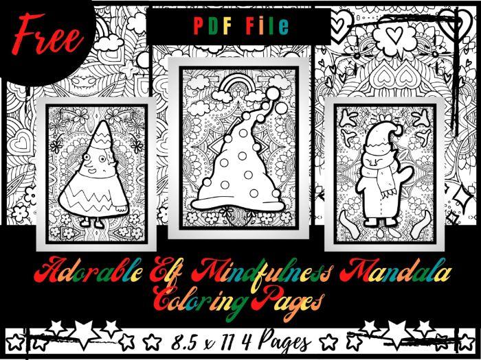 FREE Adorable Elf Mindfulness Mandala Coloring Pages, FREE Elf Printable Coloring Sheets PDF