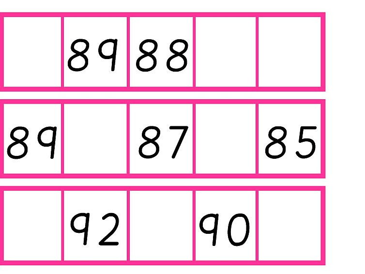 Descending Number Strips to 100