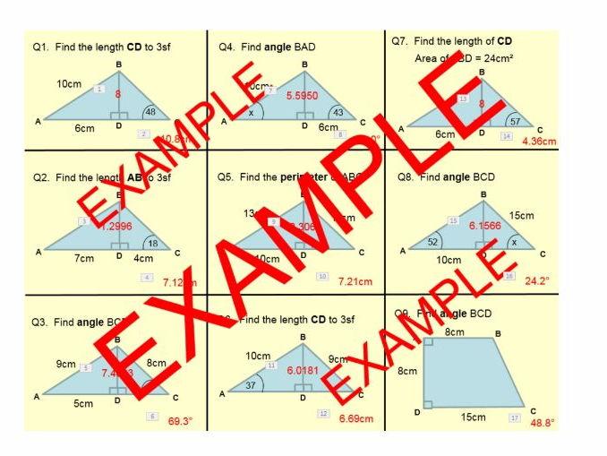 Pythagoras Trigonometry - TWO STEP PROBLEM SOLVING