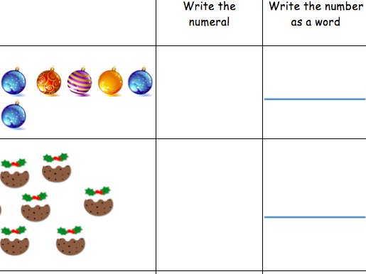Read and Write numbers 1-20 in numerals and words Christmas theme