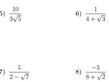 Four worksheets on rationalising the denominator  (with solutions)