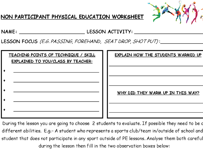 Physical Education non participant worksheet