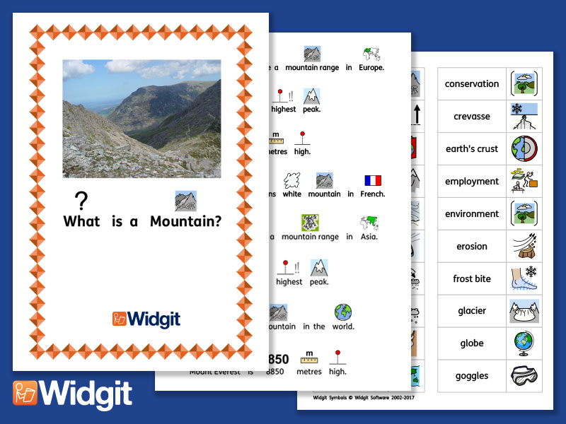 Mountains - Geography Unit with Widgit Symbols