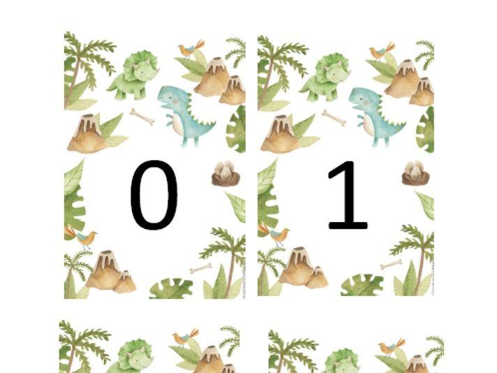 Dinosaur Number Flashcards 0 - 30