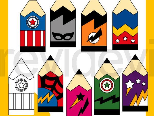 Superhero Pencils clip art for Back to school  - bright colors