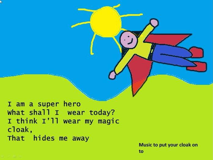 "Superheroes."" I am a superhero.""   Action song.  Video  . Mp3s.   Lyrics  . PPT ,  Worksheet .notes"