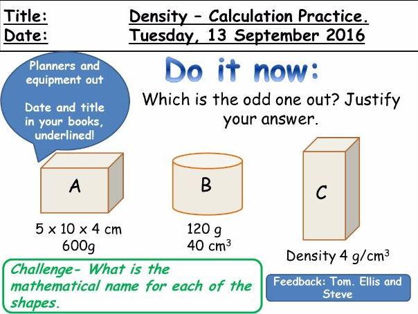 Density - Calculation Practice