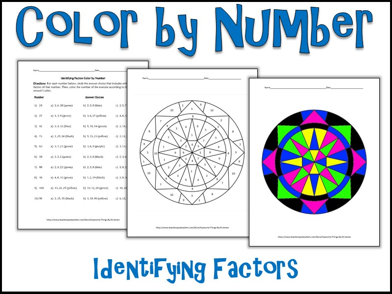 Identifying Multiples Color By Number Teaching Resources