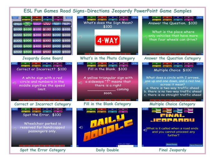 Road Signs-Directions Jeopardy PowerPoint Game