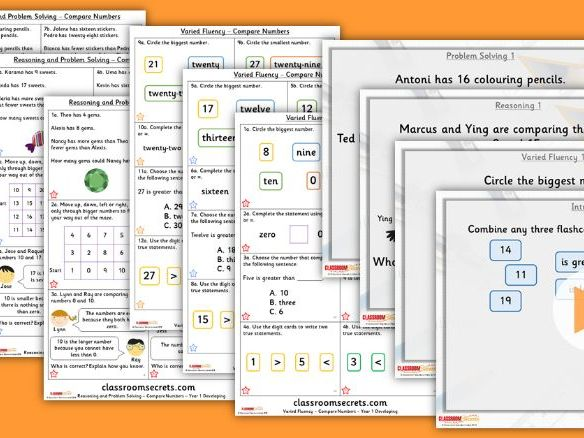 Year 1 Compare Numbers Autumn Block 4 Step 6 Lesson Pack