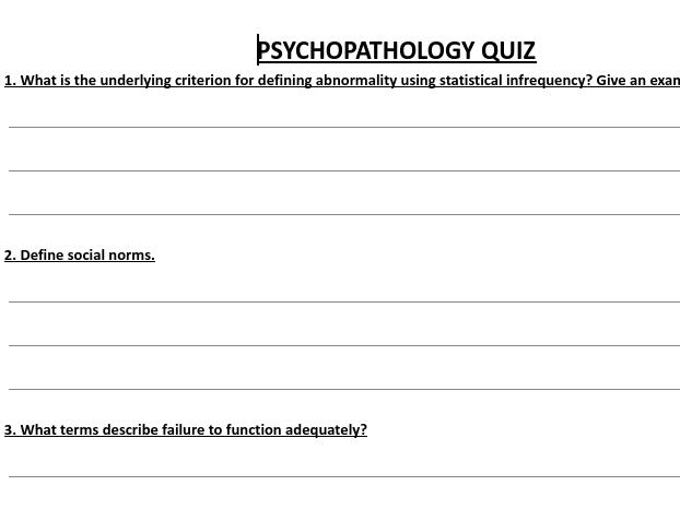 PSYCHOLOGY PSYCHOPATHOLOGY POP QUIZ