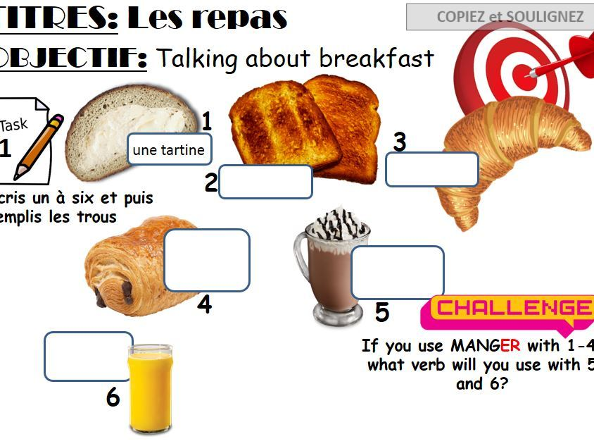 French KS3 Y8 Les repas - breakfast -  what you eat and key verbs - includes homework task