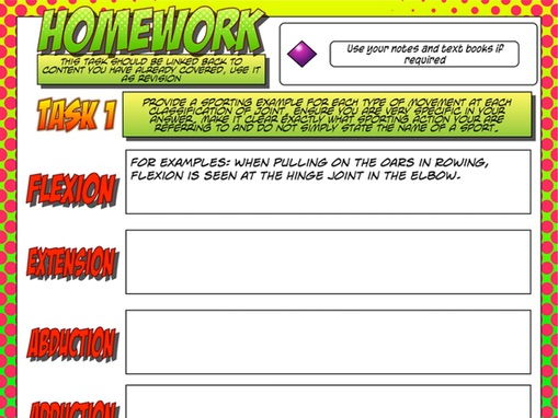 NEW GCSE PE – Unit 1 – Topic 1 – Lesson 3 - Joint Classification and Movement - Diamond Homework