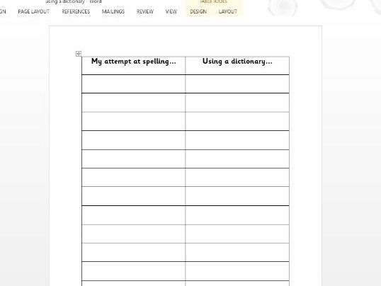 Using a dictionary worksheet