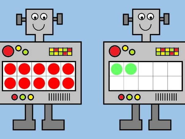 Robot TEN FRAMES - Number Matching & Recognition, Counting to 10 and to 20