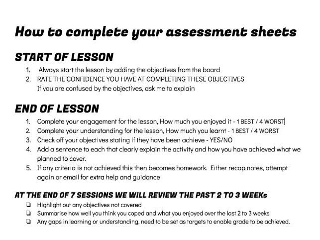 Cycle of learning Student Self Assessment sheet  - Enables clear objective setting and tracking