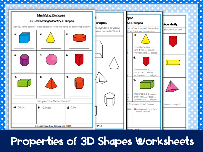 Year 2 Maths: Identifying & Describing 3D Shapes (differentiated worksheets)