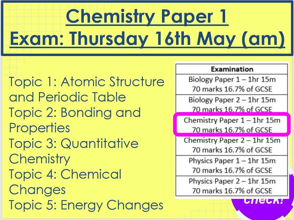 Chemistry Paper 1 Revision AQA Triology Foundation