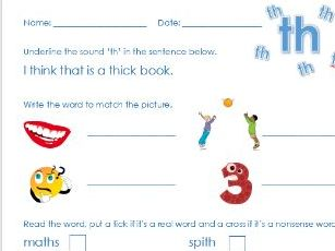 Phonics Phase 3 'ch' 'th' and 'sh'