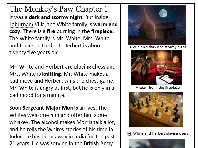The Monkey's Paw – illustrated summary, story board, sequencing, independent writing