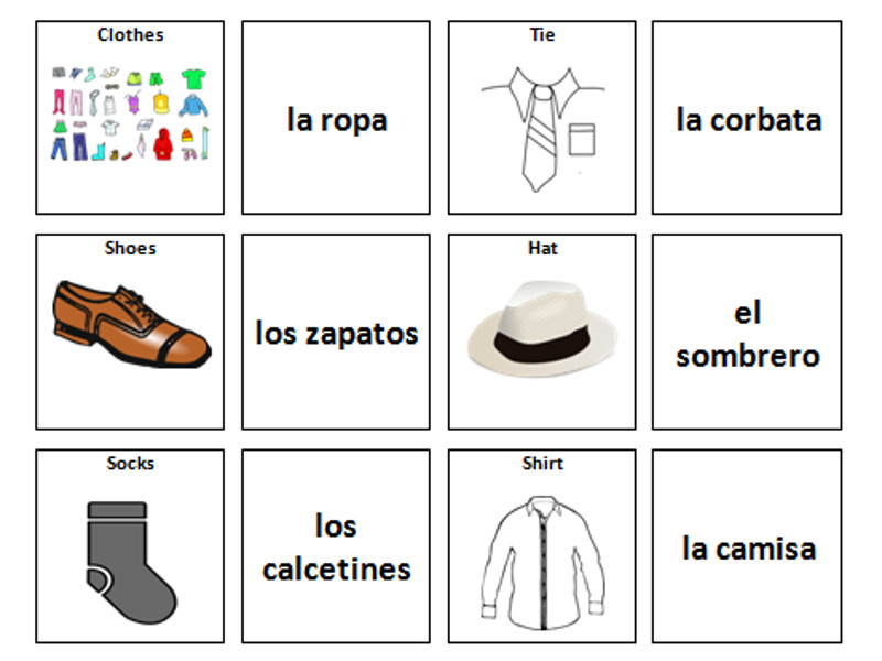 Clothes: Spanish Vocabulary Card Sort