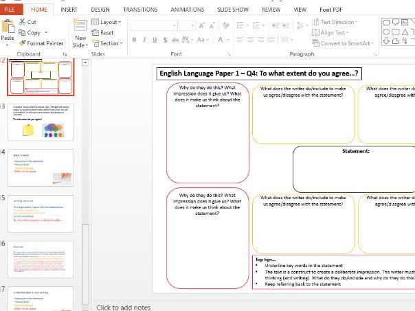 AQA English Language Paper 1 Q3 and Q4
