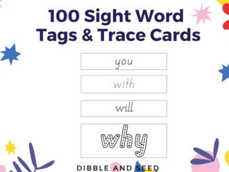 Free 100 Sight Words Trace and Tags (in Assorted Beginner Letter Formation Fonts)