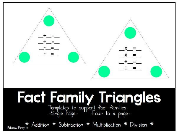 Fact Family Triangles - Templates - Math Resource - Addition, Subtraction, Multiplication, Division