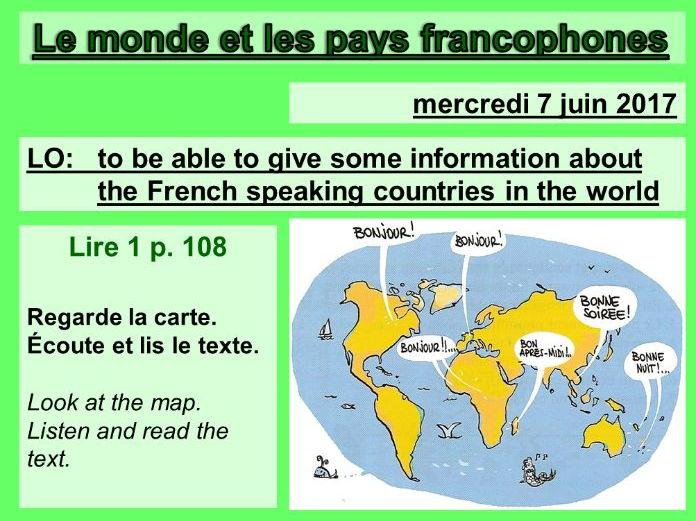 Le Monde Et Les Pays Francophones Studio 2 Vert Module 6 Unit 1 Teaching Resources