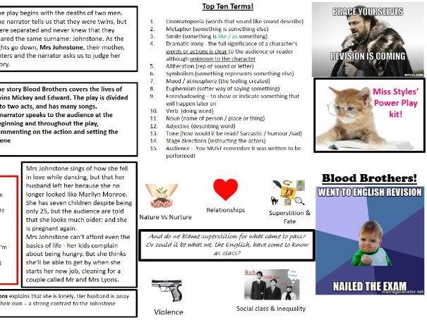 Blood Brothers GCSE English Revision key cards. Eduqas/WJEC/AQA