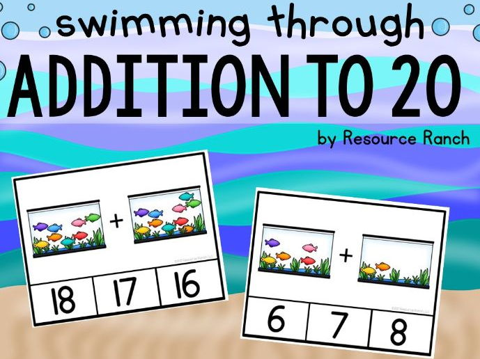 """Swimming Through Addition"" Addition Clip Cards to 20"