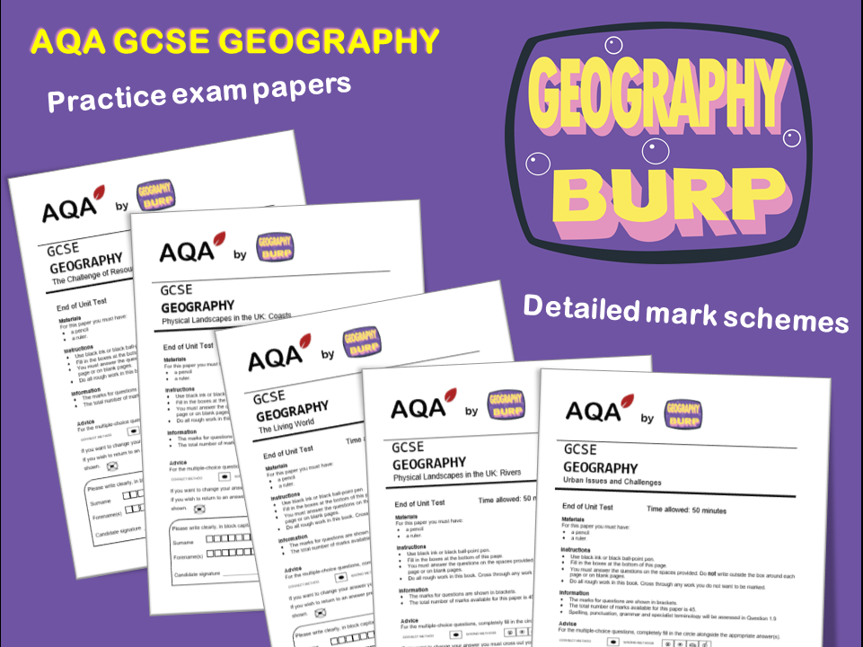 AQA GCSE Geography (9-1) - 5 x End of Unit Tests and Mark Schemes