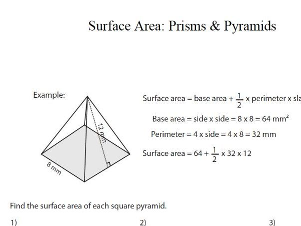 GCSE Maths Revision Surface Area of Prisms and Pyramids