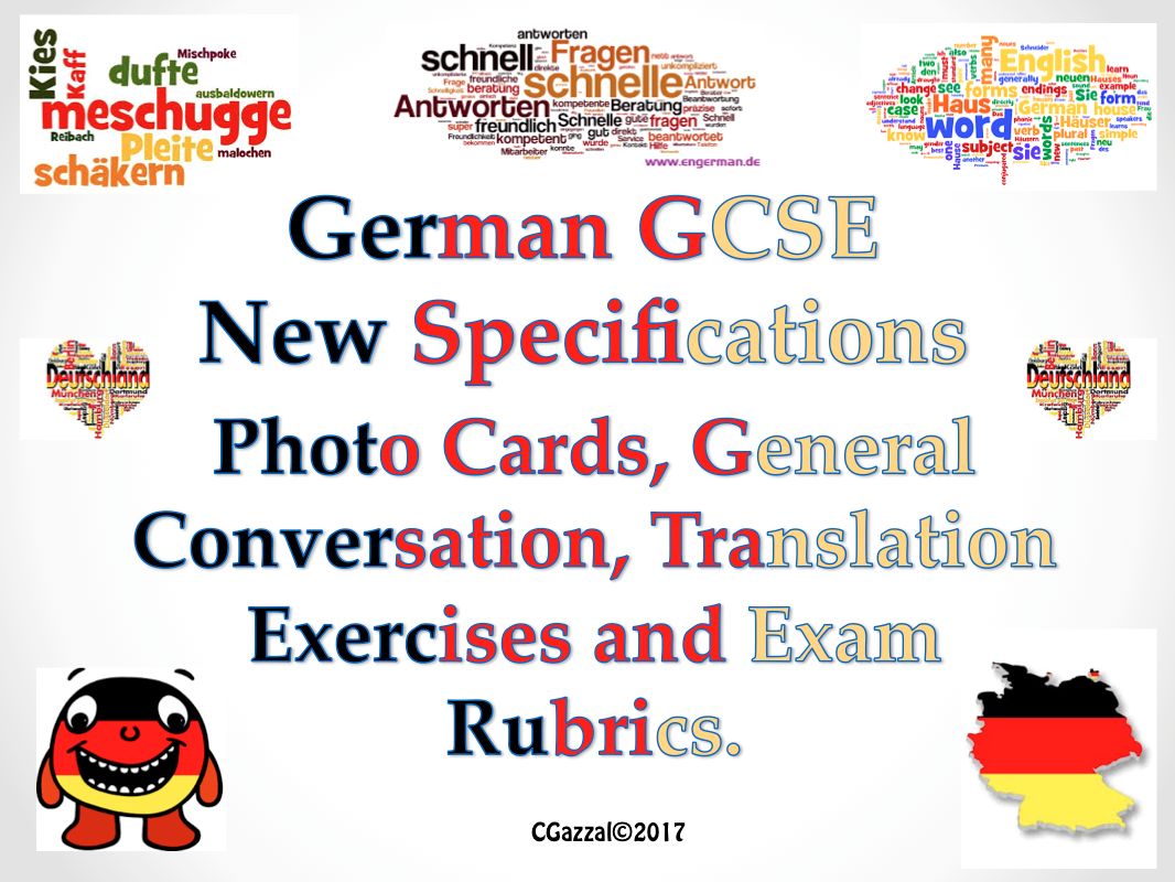 GCSE German Photo Cards, General conversation, Translations, Exam Rubrics.