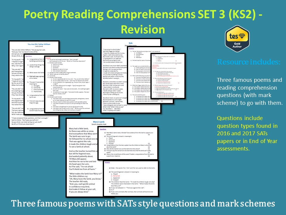 Poetry Reading Comprehensions - SET 3 (KS2) - Revision